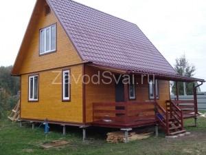 Веранда каркасного дома 6x8 на фундаменте из винтовых свай